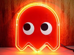 pacman red ghost neon bar mancave sign pacman red ghost neon barneo
